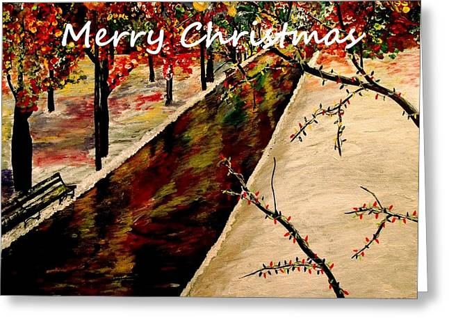 Snowy Day Greeting Cards - Merry Christmas In The Park Greeting Card by Mark Moore