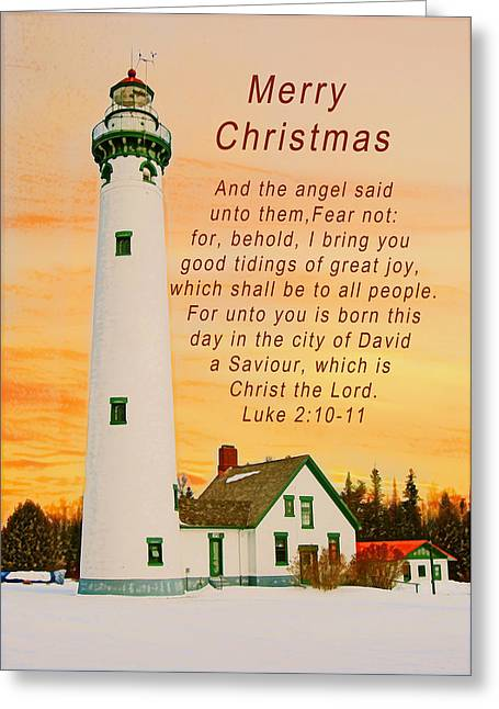 Luke 2:11 Greeting Cards - Merry Christmas Lighthouse at Sunrise Greeting Card by Michael Peychich