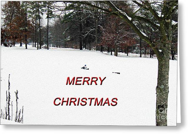 Tobogganing Greeting Cards - Merry Christmas  Greeting Card by Lydia Holly