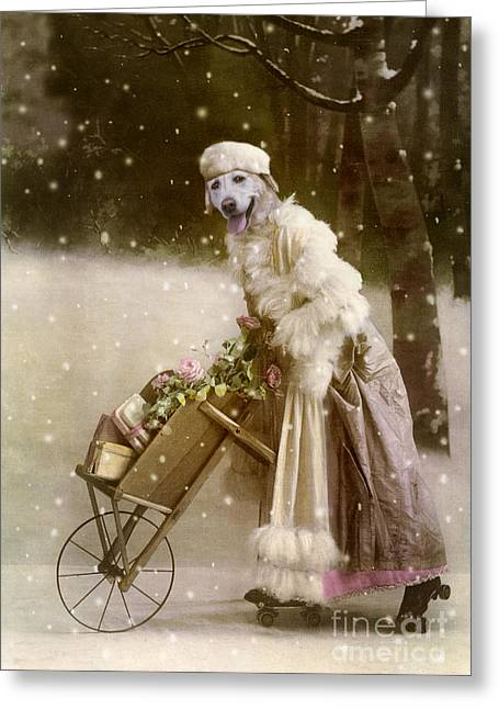Cute Labradors Greeting Cards - Merry Christmas Greeting Card by Martine Roch