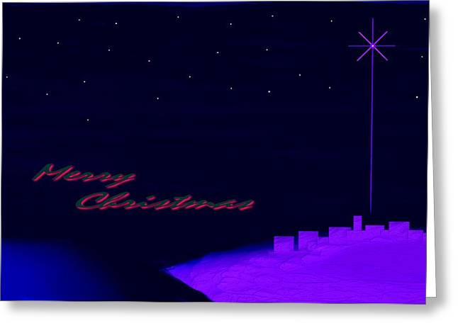 Lion And The Lamb Greeting Cards - Merry Christmas Misty Bethlehem Star Nativity Landscape II Greeting Card by L Brown