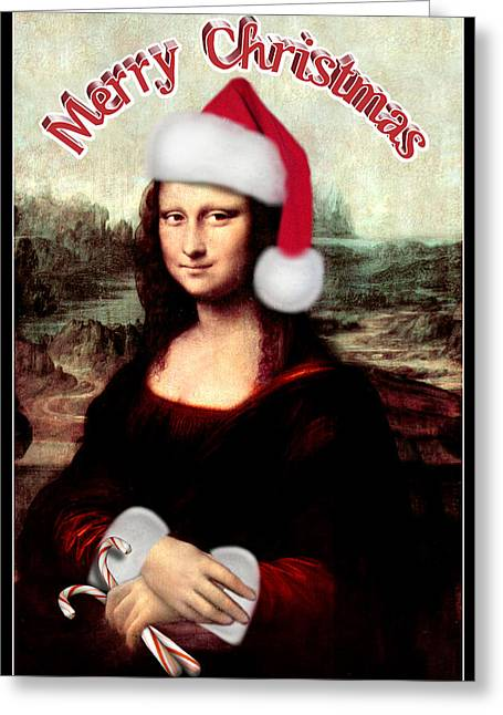 Christmas Art Greeting Cards - Merry Christmas Mona Lisa  Greeting Card by Gravityx9  Designs