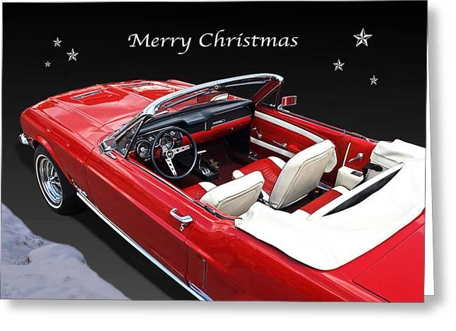 Christmas Greeting Photographs Greeting Cards - Merry Christmas Mustang Greeting Card by Gill Billington
