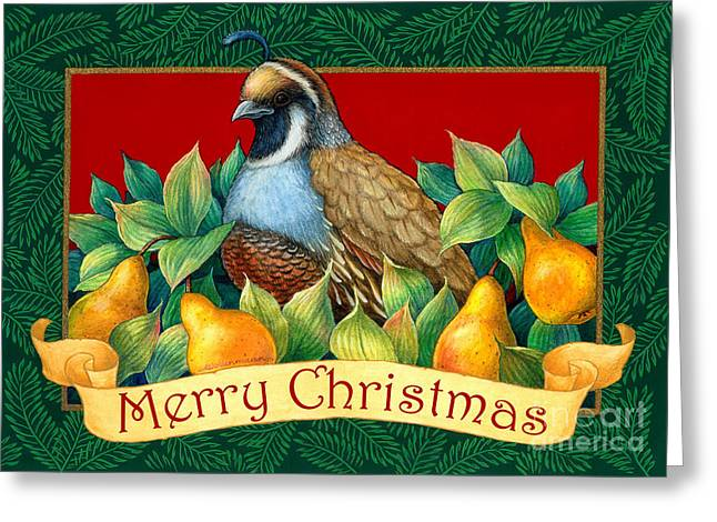 Merry Christmas Partridge Greeting Card by Randy Wollenmann