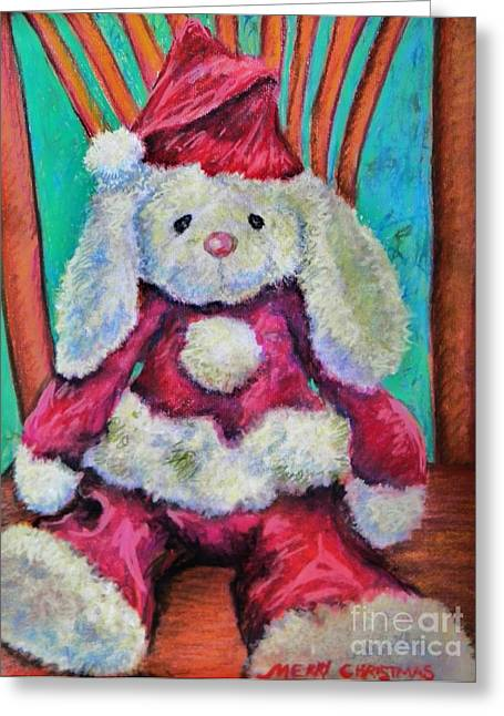 Outfit Pastels Greeting Cards - Merry Christmas Rabbit Greeting Card by Emily Michaud