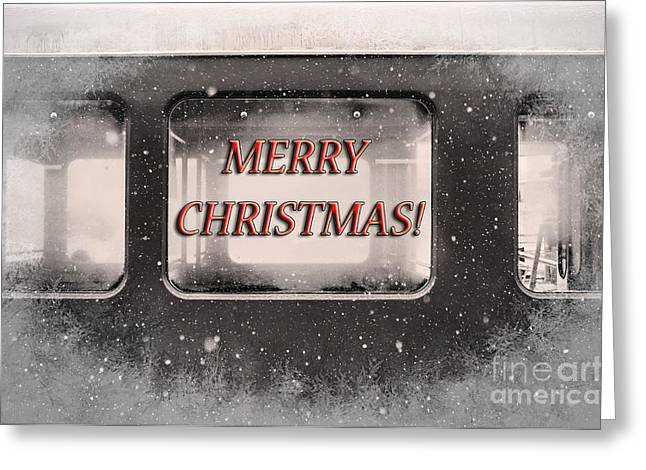 Winter Road Scenes Digital Greeting Cards - Merry Christmas Red Greeting Card by Janice Rae Pariza