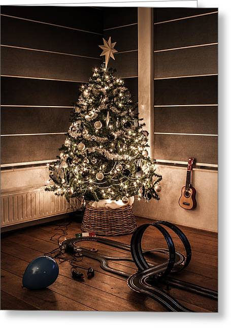 Toy Guitar Greeting Cards - Merry Christmas Greeting Card by Semmick Photo