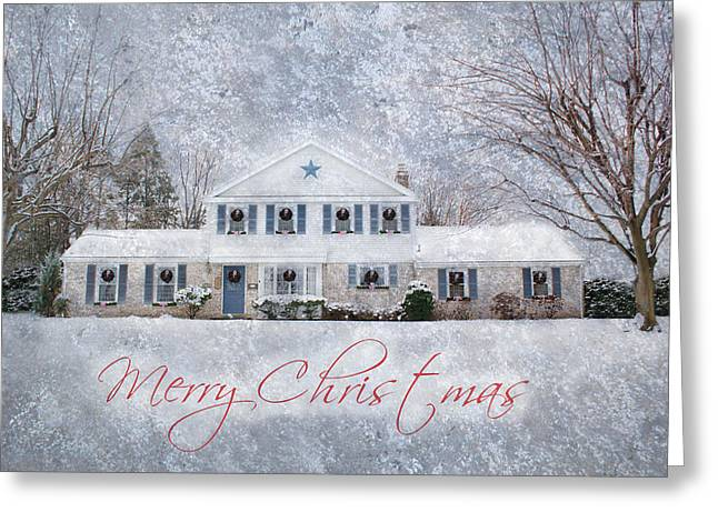 Wintry Digital Art Greeting Cards - Wintry Holiday - Merry Christmas Greeting Card by Shelley Neff