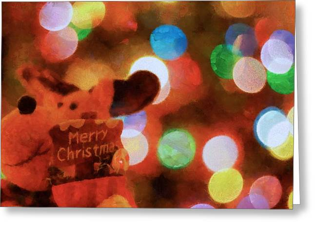 Cute Mixed Media Greeting Cards - Merry Christmas Sign And Lights Greeting Card by Dan Sproul