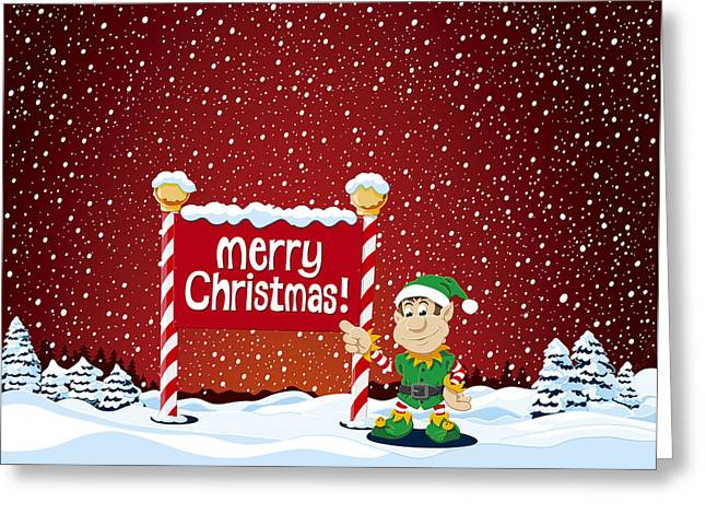 Merry Christmas Sign Christmas Elf Winter Landscape Greeting Card by Frank Ramspott