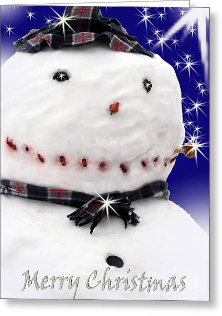 Christmas Greeting Digital Art Greeting Cards - Merry Christmas Snowman Greeting Card by Cathy  Beharriell