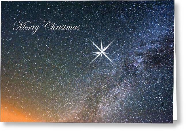 Star Of Bethlehem Greeting Cards - Merry Christmas Star of Bethlehem Greeting Card by Randall Branham