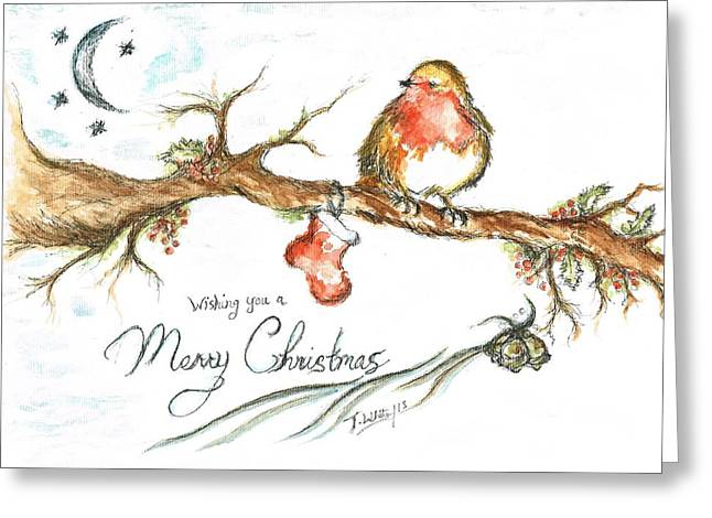 Twinkle Mixed Media Greeting Cards - Merry Christmas Robin Greeting Card by Teresa White