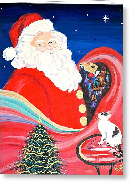 Nicholas Greeting Cards - Merry Christmas to All Greeting Card by Phyllis Kaltenbach