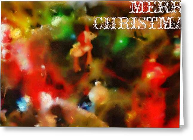 Rudolph Mixed Media Greeting Cards - Merry Christmas Tree Decorations Greeting Card by Dan Sproul