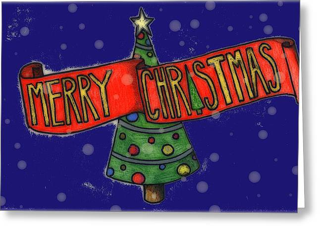 Jame Hayes Greeting Cards - Merry Christmas Tree Greeting Card by Jame Hayes