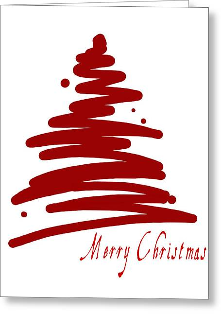 Abstract Digital Greeting Cards - Merry Christmas Tree - Red Greeting Card by Patricia Awapara