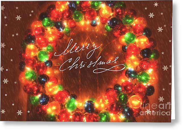 Twinkle Greeting Cards - Merry Christmas Twinkling Wreath Greeting Card by Carolyn Rauh