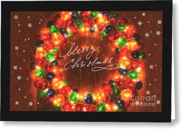 Christs Birthday Greeting Cards - Merry Christmas Twinkling Wreath Greeting Card by Carolyn Rauh