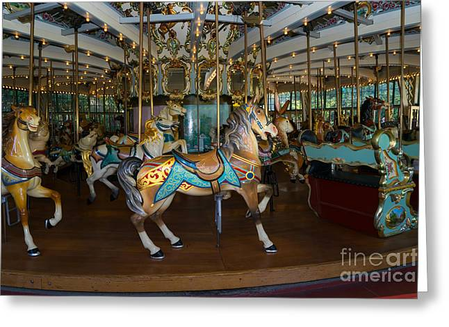 Country Fair Greeting Cards - Merry Go Around DSC2934 Greeting Card by Wingsdomain Art and Photography