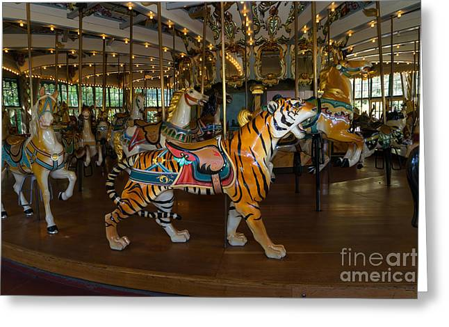 Country Fair Greeting Cards - Merry Go Around DSC2938 Greeting Card by Wingsdomain Art and Photography
