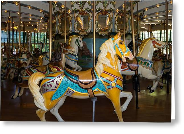 The Tiger Greeting Cards - Merry Go Around DSC2939 square Greeting Card by Wingsdomain Art and Photography