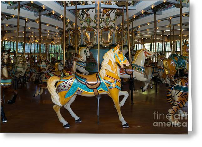 Country Fair Greeting Cards - Merry Go Around DSC2939 Greeting Card by Wingsdomain Art and Photography