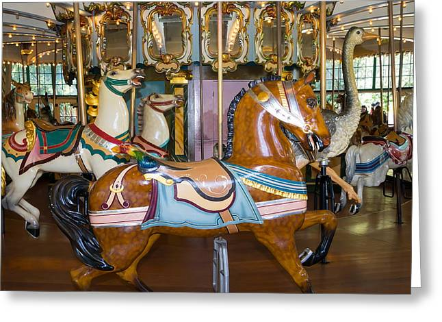 The Tiger Greeting Cards - Merry Go Around DSC2963 square Greeting Card by Wingsdomain Art and Photography