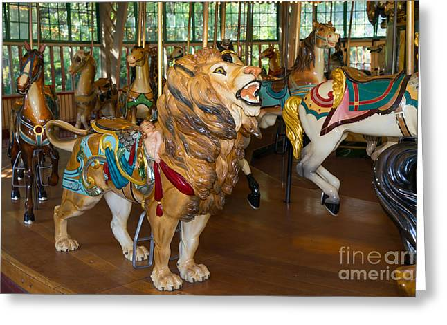 The Tiger Greeting Cards - Merry Go Around DSC2964 Greeting Card by Wingsdomain Art and Photography
