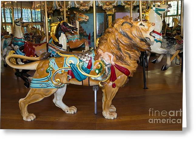 The Tiger Greeting Cards - Merry Go Around DSC2965 Greeting Card by Wingsdomain Art and Photography