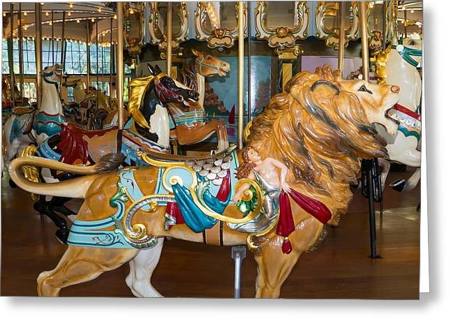 The Tiger Greeting Cards - Merry Go Around DSC2966 square Greeting Card by Wingsdomain Art and Photography