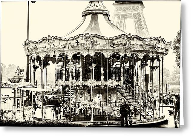 Whirligig Greeting Cards - Merry Go Round and Eiffel Tower Greeting Card by Nomad Art And  Design