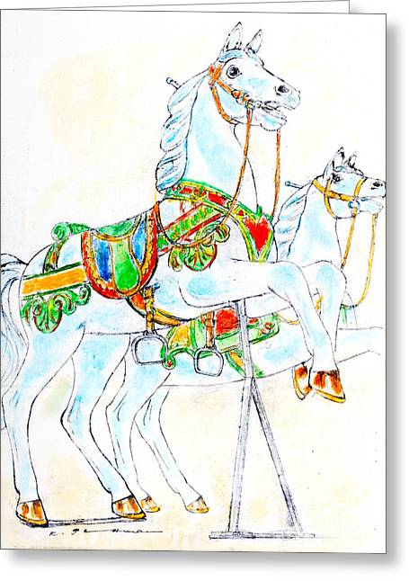 Round Pastels Greeting Cards - Merry-go-round horses Greeting Card by Kurt Tessmann