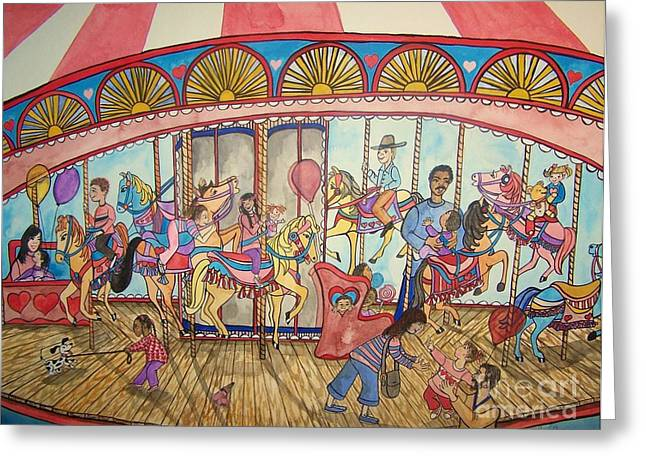 Laneea Tolley Greeting Cards - Merry-go-round Greeting Card by Laneea Tolley