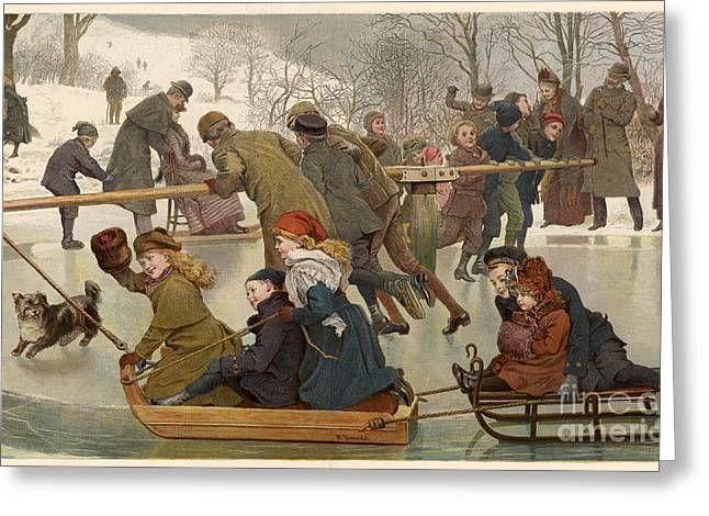 Historical Images Greeting Cards - Merry-go-round On The Ice 1890 Greeting Card by Mary Evans