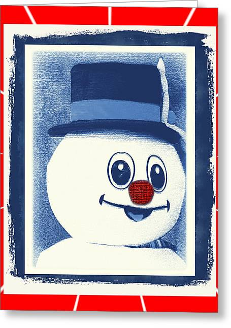 Snow Capped Greeting Cards - Merry Holiday Happy Snowman Greeting Card by Constance Lowery