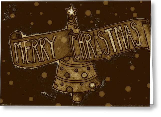 Jame Hayes Greeting Cards - Merry Sepia Christmas Greeting Card by Jame Hayes