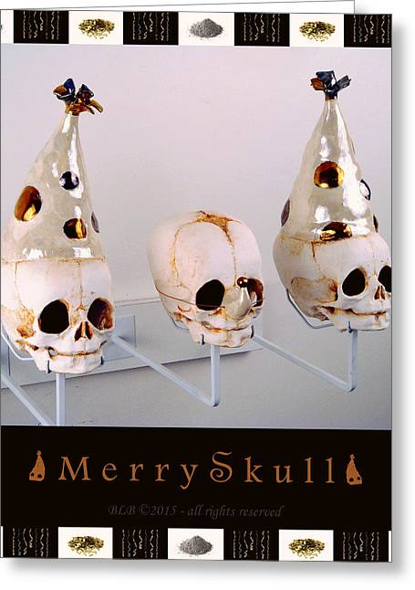 Party Hat Posters Greeting Cards - Merry Skulls Greeting Card by Mara Colecchia