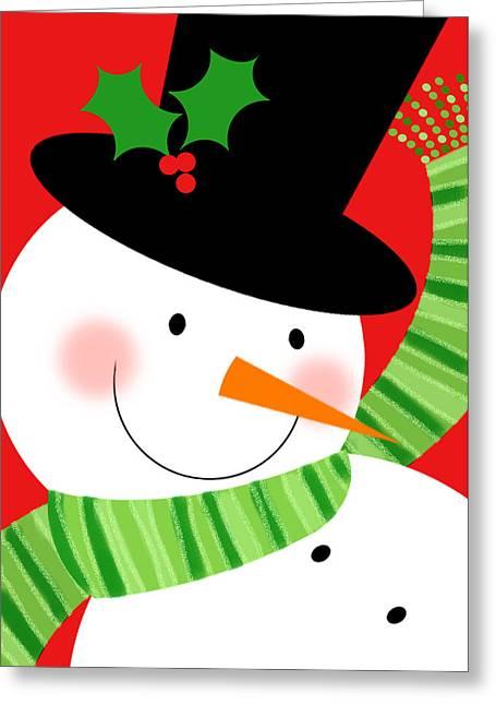 Merry Snowman Greeting Card by Valerie Drake Lesiak