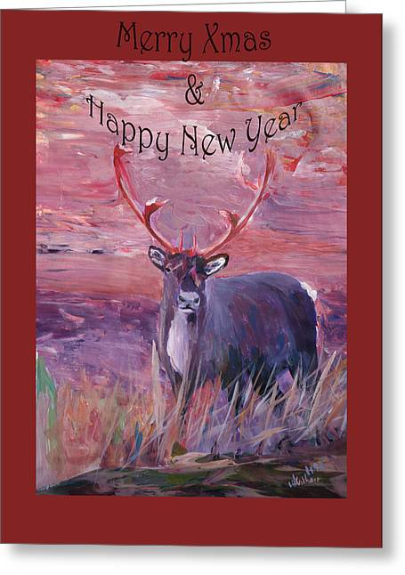 Rudolph Mixed Media Greeting Cards - Merry Xmas and Happy New Year Greeting Card by M Bleichner