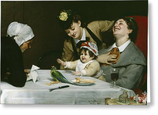 Domestic Scene Greeting Cards - Merrymakers Greeting Card by Charles Emile Auguste Carolus-Duran