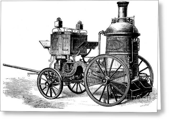European Artwork Greeting Cards - Merryweather Steam Fire Engine, 1880s Greeting Card by Bildagentur-online