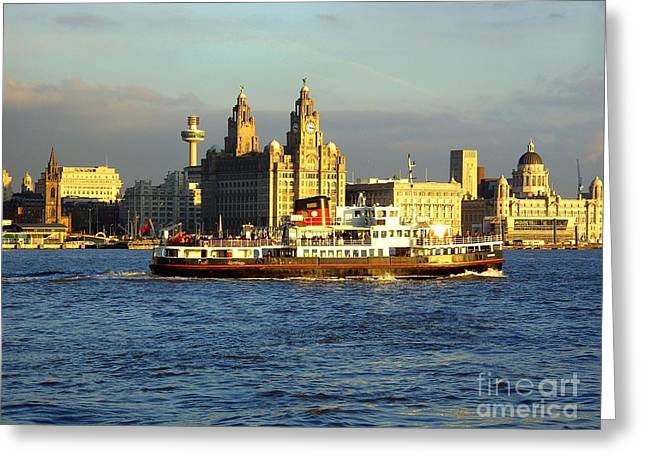 Sgt Pepper Photographs Greeting Cards - Mersey Ferry and Liverpool Waterfront Greeting Card by Steve Kearns