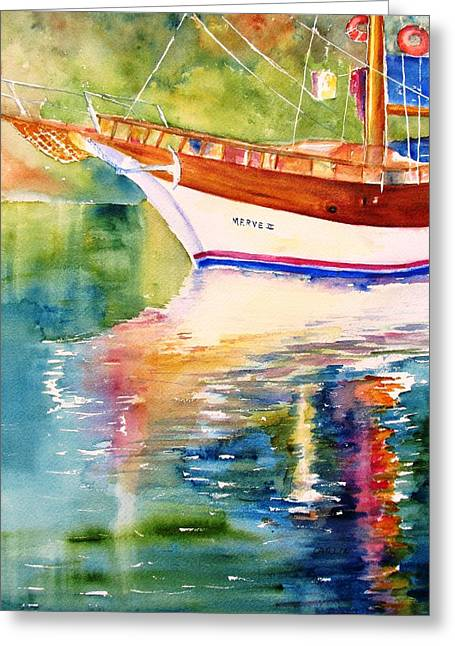 Wooden Ship Greeting Cards - Merve II gulet yacht Reflections Greeting Card by Carlin Blahnik