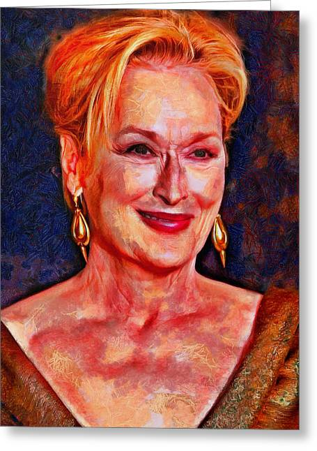 Lucent Dreaming Greeting Cards - Meryl Streep Greeting Card by Nikola Durdevic