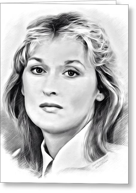 Award Digital Art Greeting Cards - Meryl Streep Sketch Greeting Card by Scott Wallace