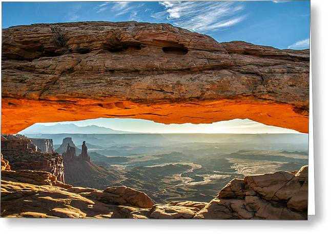 Beautiful Scenery Greeting Cards - Mesa Arch Canyonlands Utah Sunrise Greeting Card by Pierre Leclerc Photography