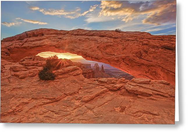 Navajo Basin Greeting Cards - Mesa Arch Greeting Card by Jennifer Grover
