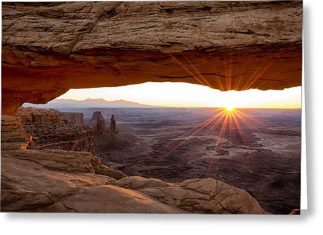 Flares Greeting Cards - Mesa Arch Sunrise - Canyonlands National Park - Moab Utah Greeting Card by Brian Harig