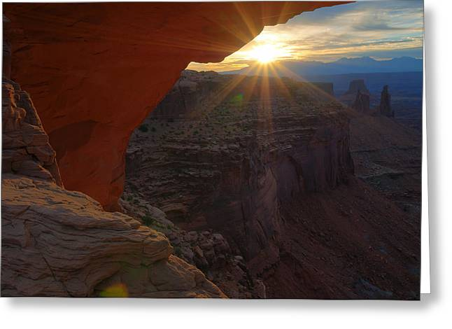 Nature Greeting Cards - Mesa Arch Sunrise Greeting Card by Mike Berenson